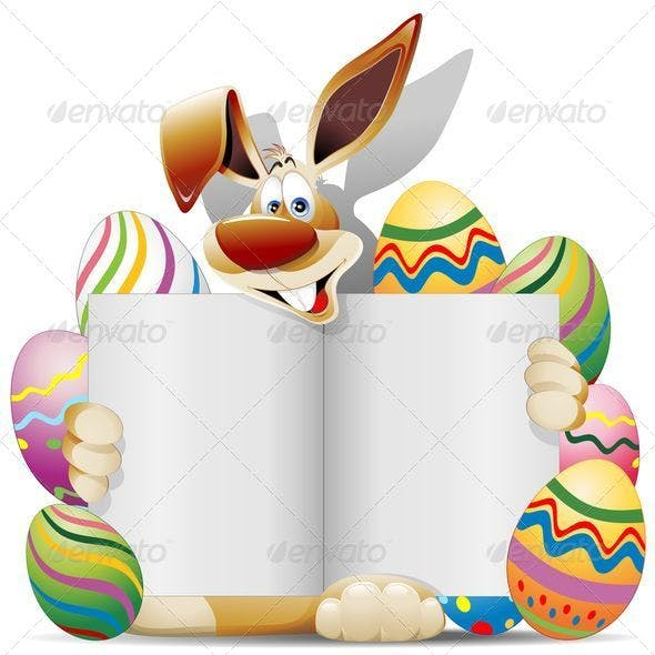 Easter Bunny Cartoon with Greeting Card and Eggs