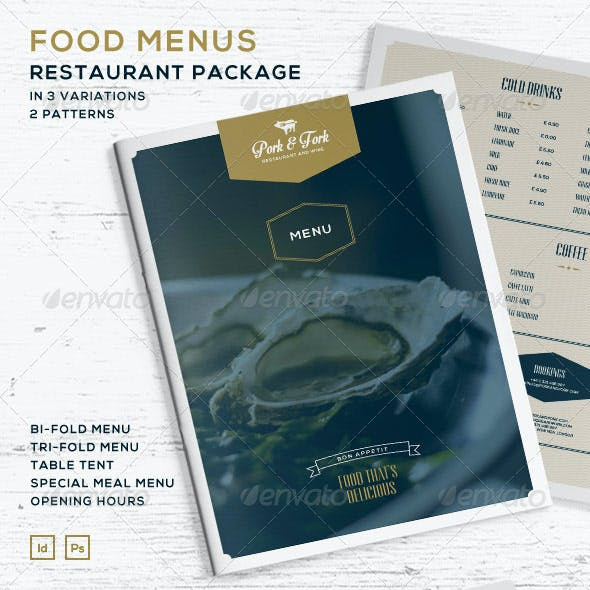 Food Menus - Restaurant Package