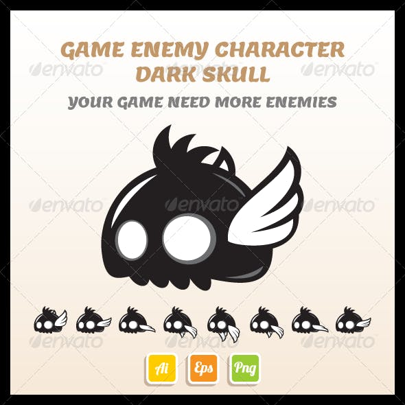 Game Enemy Dark Skull Sprite Sheet