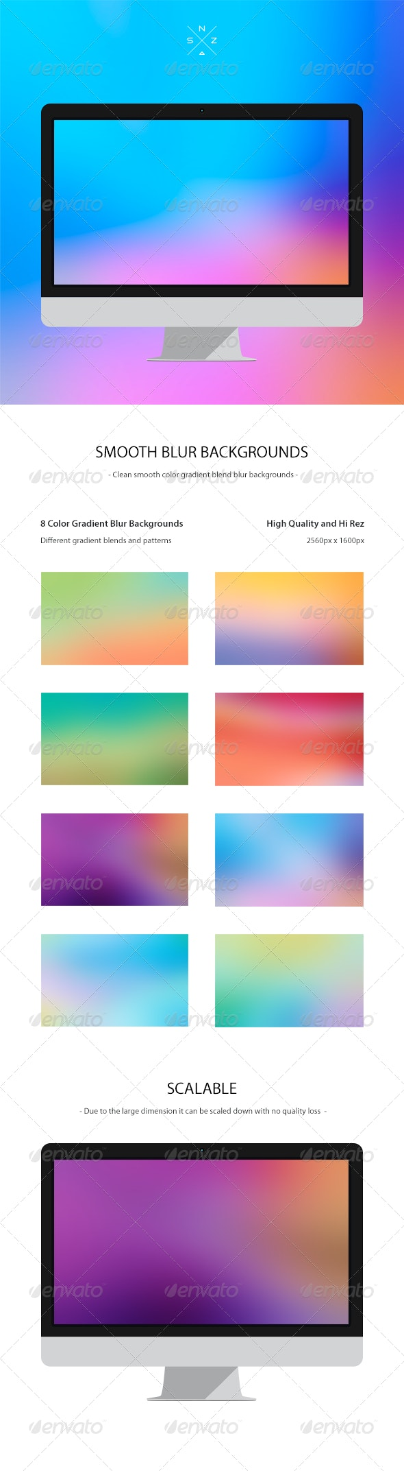 8 Color Gradient Blur Backgrounds - Abstract Backgrounds
