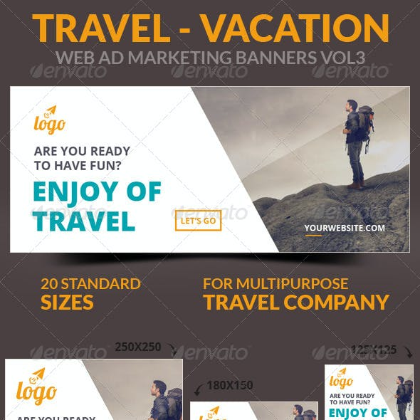 Travel - Vacation Web Ad Marketing Banners Vol3
