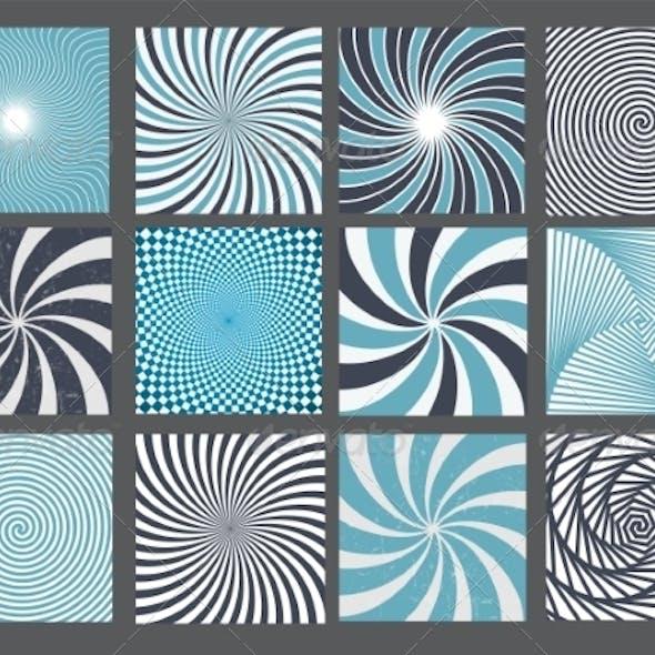 Retro Vintage Hypnotic Background Set