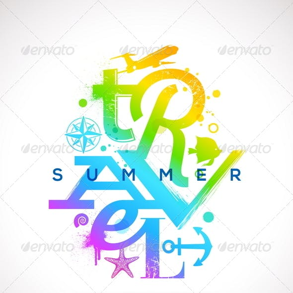 Summer Travel Multicolored Type Design
