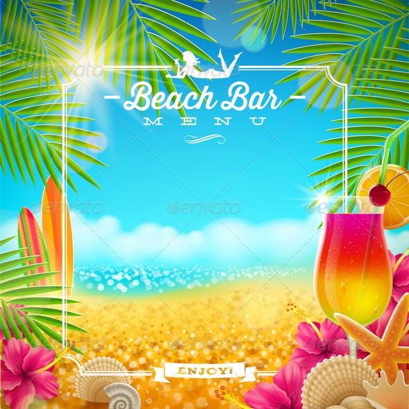 Tropical Beach Bar Menu Design