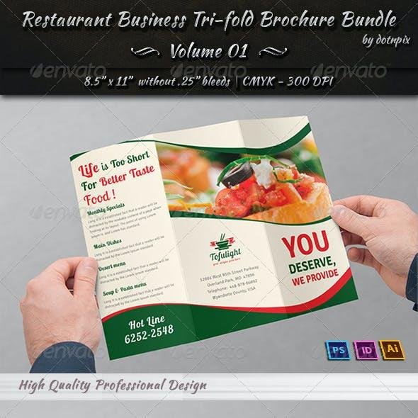 Restaurant Tri-fold Brochure Bundle | Volume 1