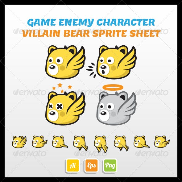 Flying Villain Bear Sprite Sheet
