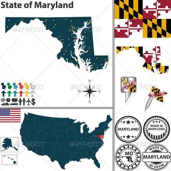 Map of state Maryland, USA