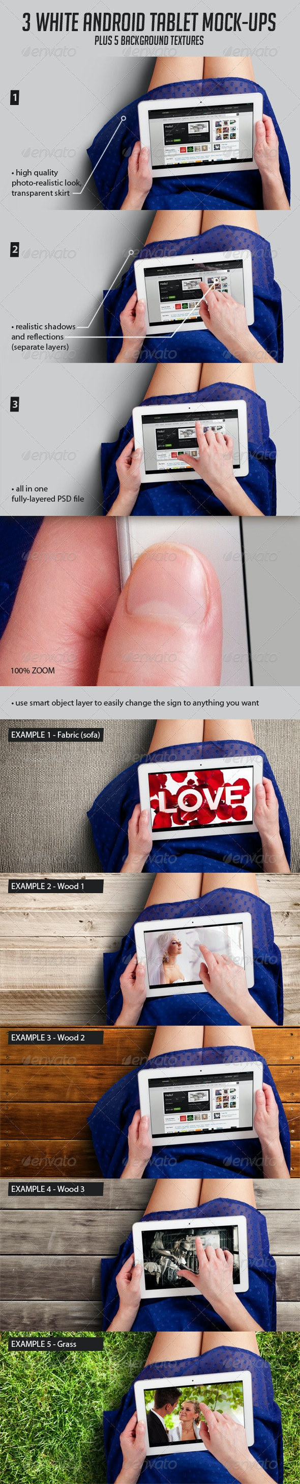 3 Tablet Mock-ups and 5 Background Textures - Displays Product Mock-Ups