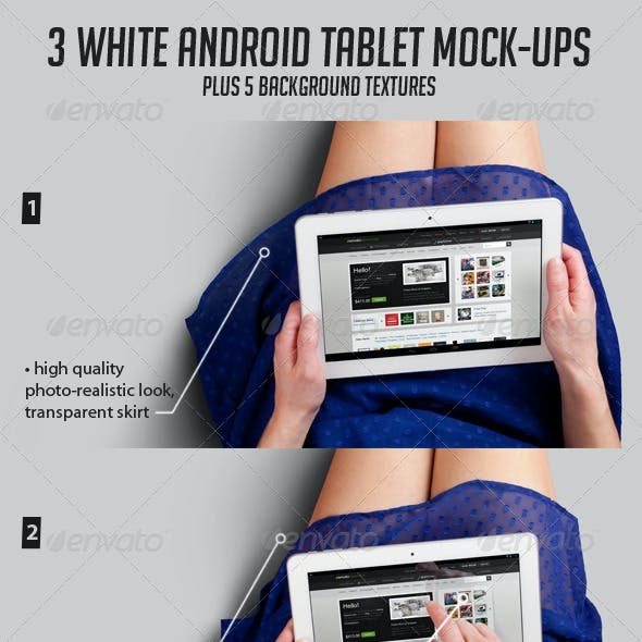 3 Tablet Mock-ups and 5 Background Textures