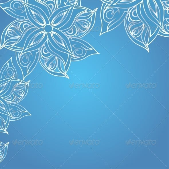 Blue Background with Floral Ornament