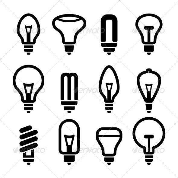 Light Bulbs Bulb Icon Set 2 Vector - Technology Icons