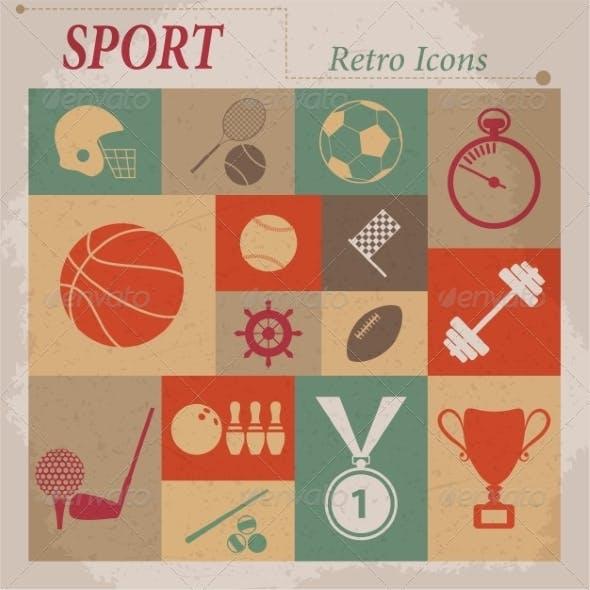 Sport Flat Retro Icons