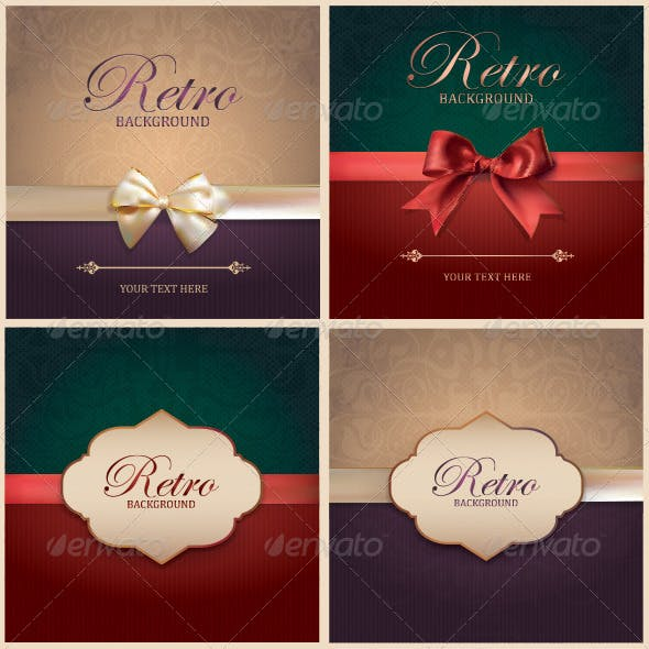 Set of Vintage Card Backgrounds and Frames