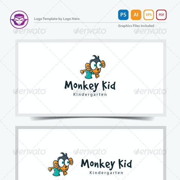 Monkey Kid Logo Template