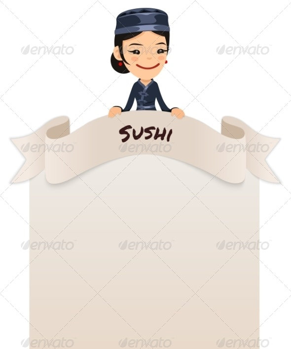 Asian Female Chef Looking at Blank Menu on Top - Backgrounds Decorative