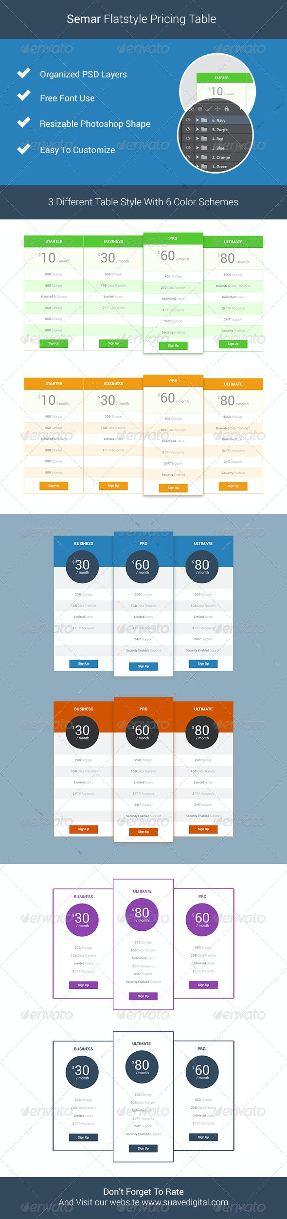 Semar Flatstyle Pricing Table - Tables Web Elements