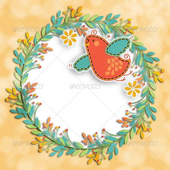 Wreath Bird Background Layout