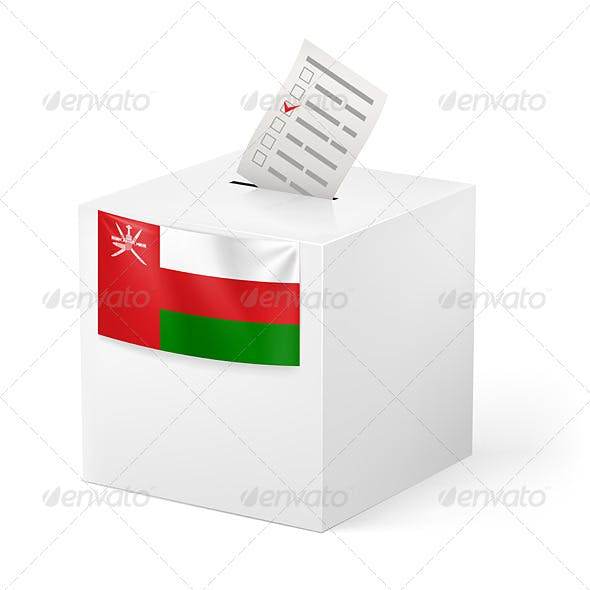 Ballot Box with Voting Paper Oman