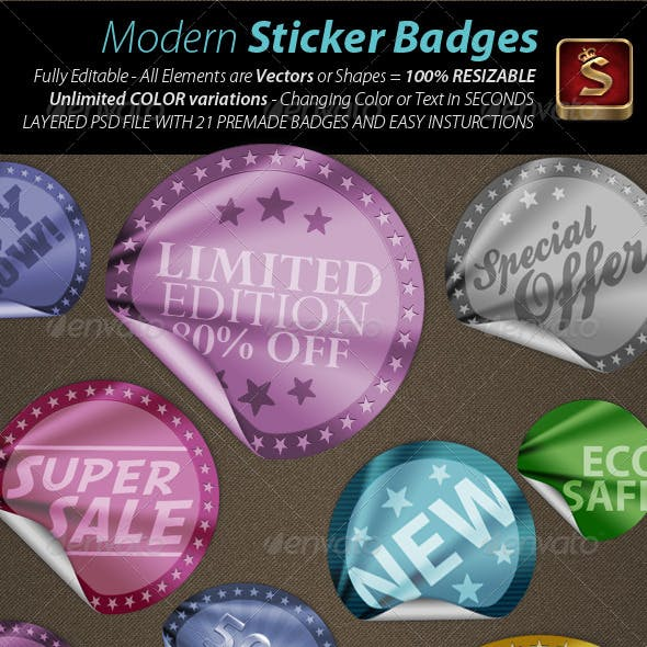 21 Modern Sticker Badges - Unlimited Colors