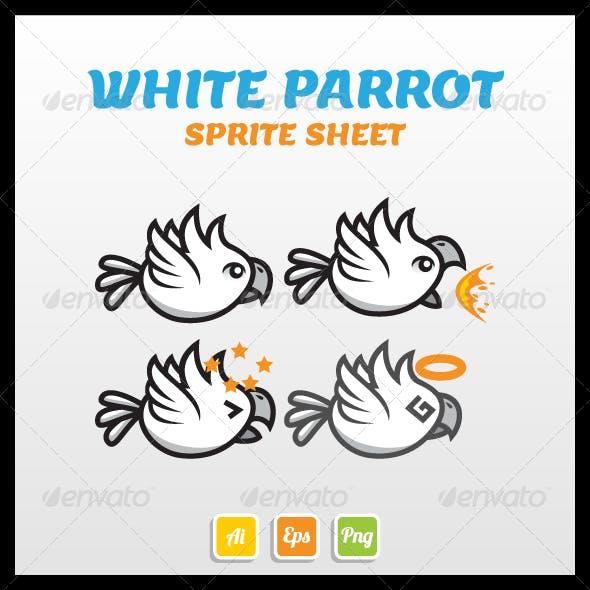 White Parrot Sprite Sheet