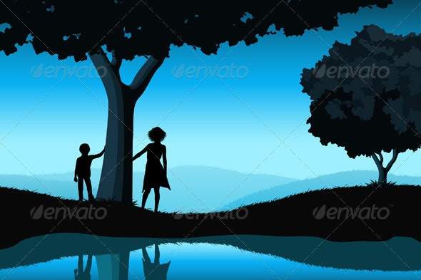 Nature Background with Silhouettes - Landscapes Nature