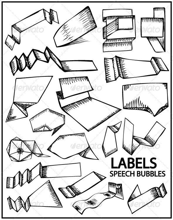 Hand drawn labels and speech bubbles - Decorative Symbols Decorative