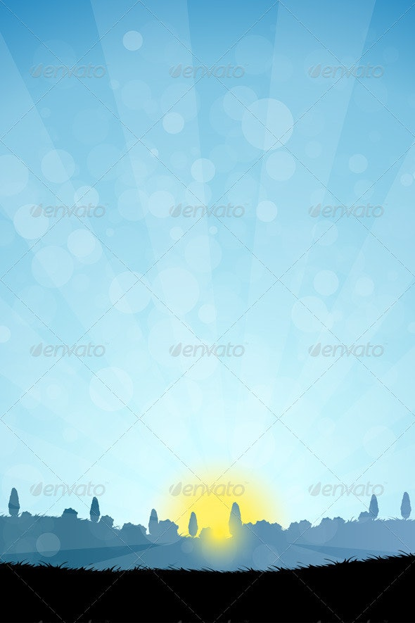 Landscape with  Tree Silhouettes - Landscapes Nature