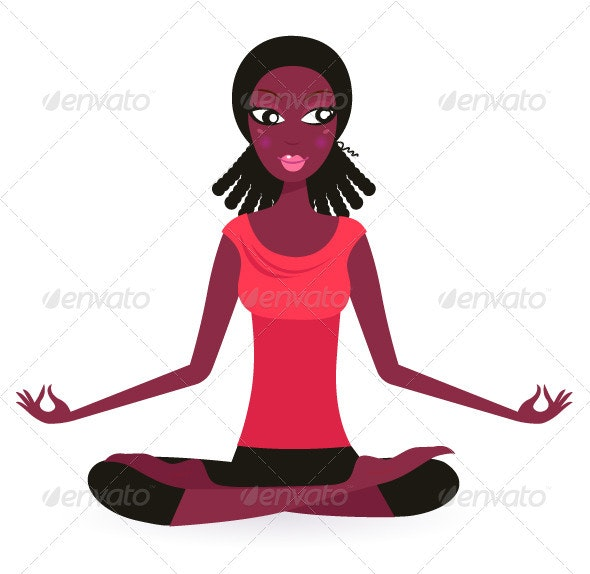 Afro - american female practicing yoga pose - Sports/Activity Conceptual