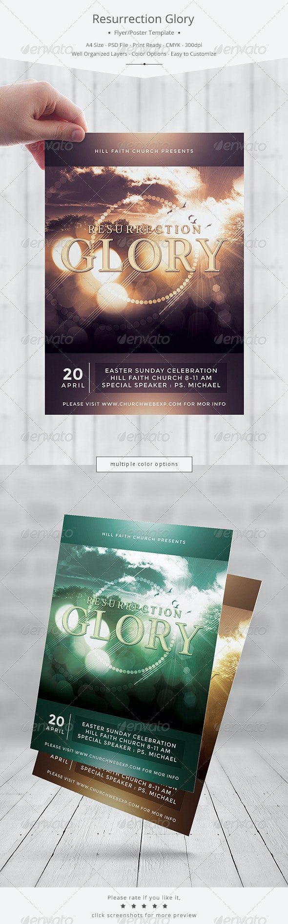 Resurrection Glory Flyer/Poster Template - Church Flyers