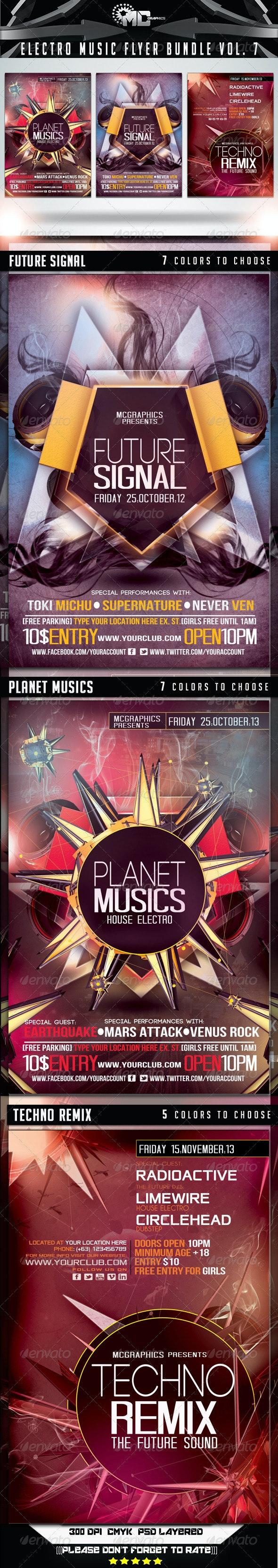 Electro Music Flyer Bundle Vol. 7 - Flyers Print Templates