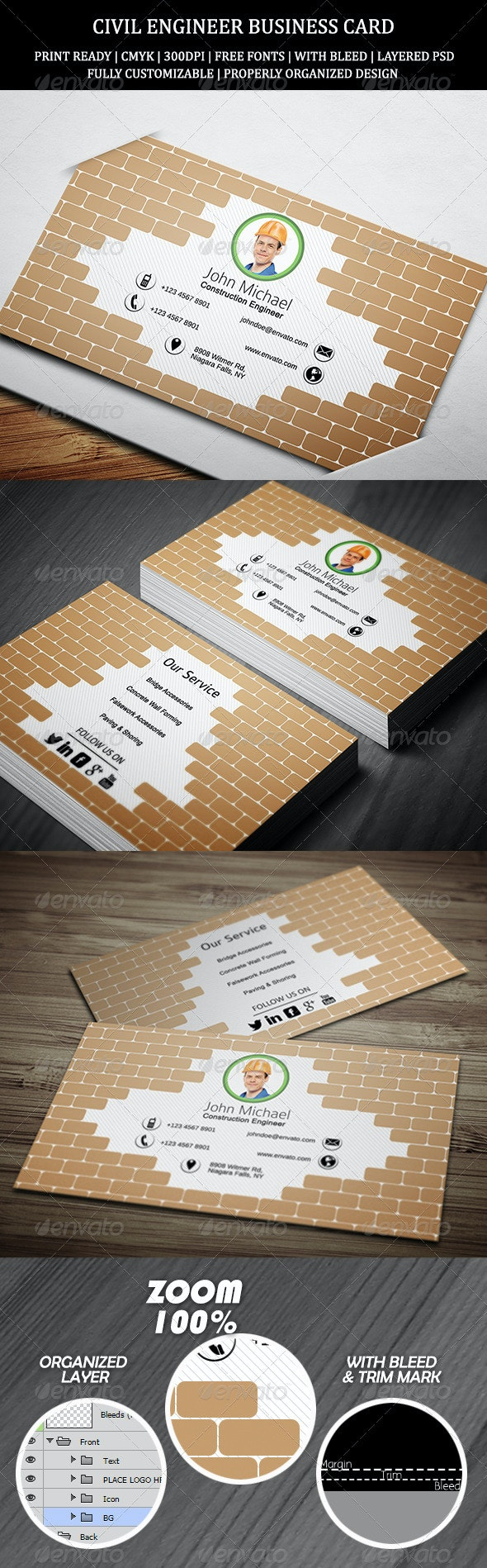 Civil Engineer Business Card 1 - Creative Business Cards