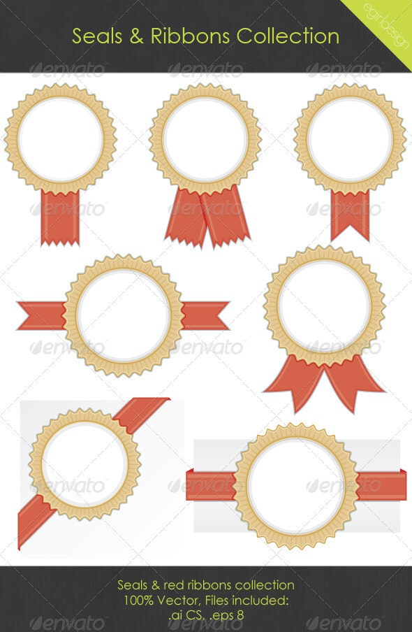Seals & Ribbons Collection - Objects Vectors