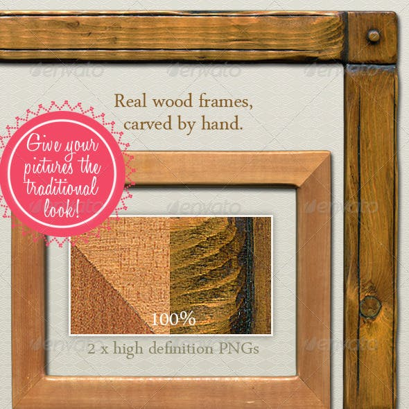Hand-Carved Wood Picture Frame - Traditional