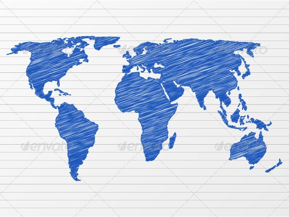 Drawing World Map - Backgrounds Decorative