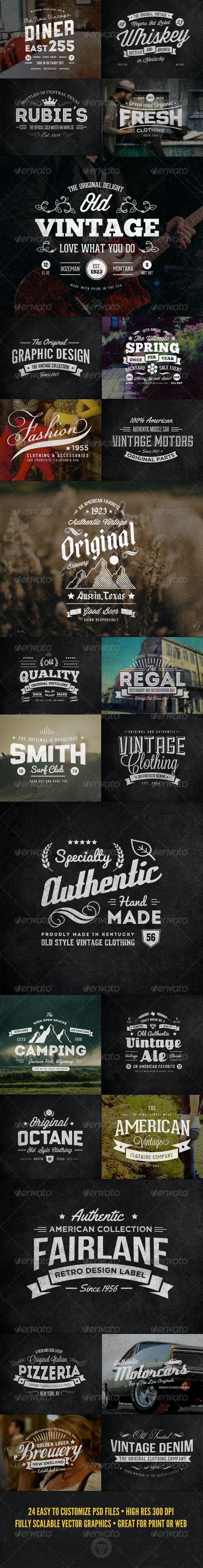 24 Vintage Labels and Logos Bundle - Badges & Stickers Web Elements