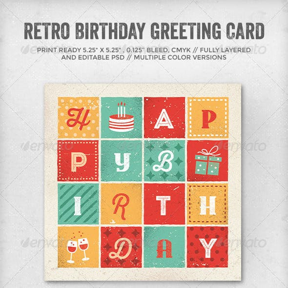 Retro Letters Birthday Card