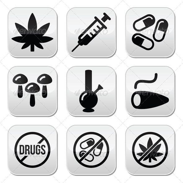 Drugs Addiction Buttons Set