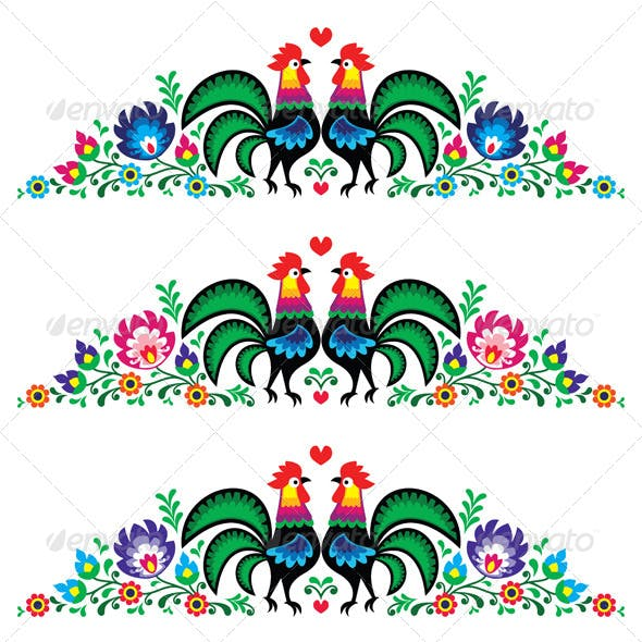 Polish Floral Folk Long Embroidery Pattern