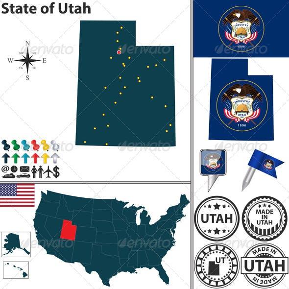 Map of State Utah, USA