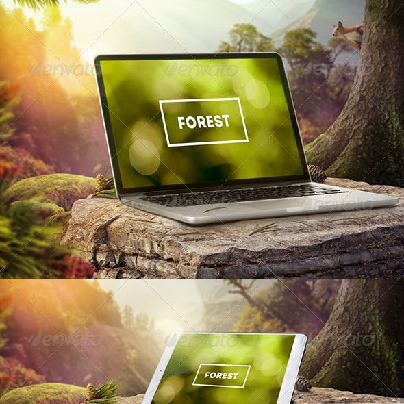 Mock-Up Laptop and tablet (PSD). Forest style