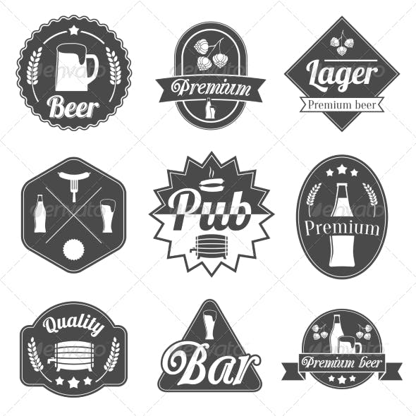Alcohol Beer Label Badges Collection