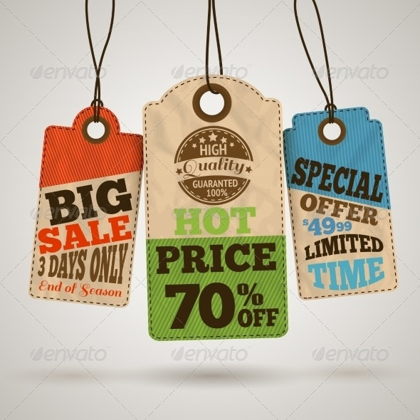 Collection of Cardboard Sale Price Tags - Retail Commercial / Shopping