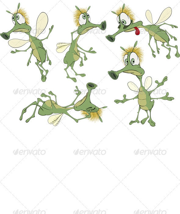 Green Cartoon Insects - Monsters Characters