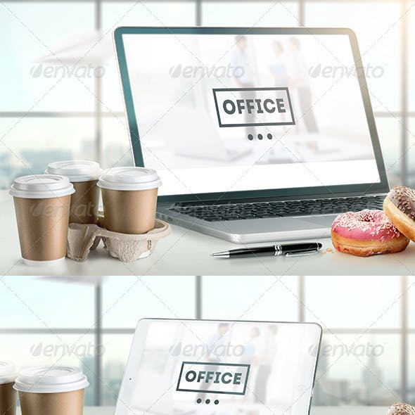 Mock-Up Laptop and tablet (PSD). Office style