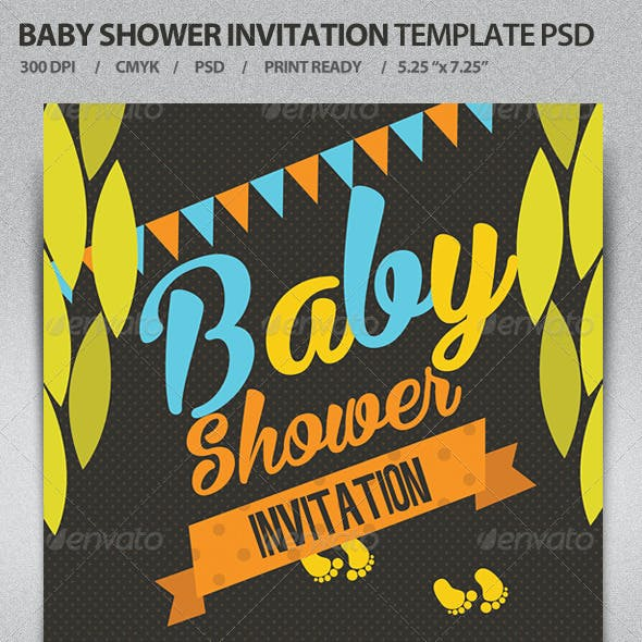 Baby Shower Invitation Template PSD