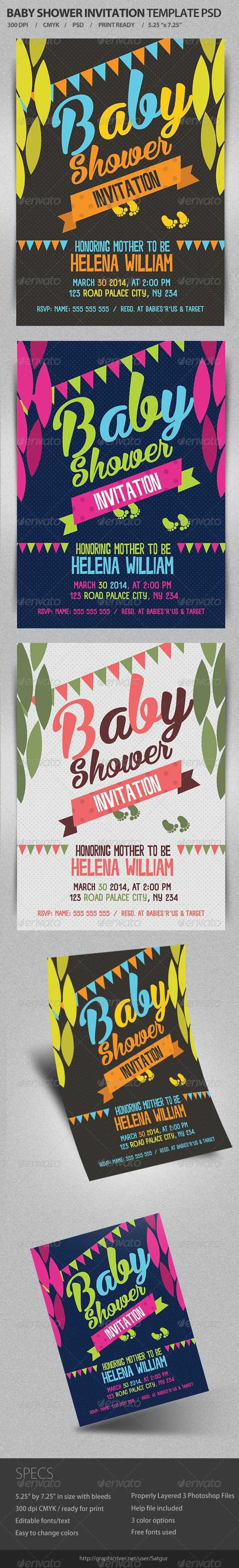 Baby Shower Invitation Template PSD - Events Flyers