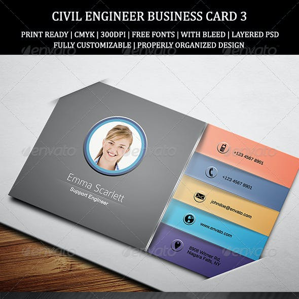 Civil Engineer Business Card 3