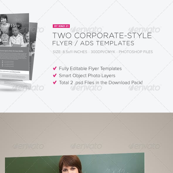 2 Corporate-Style Flyer/Ads Templates