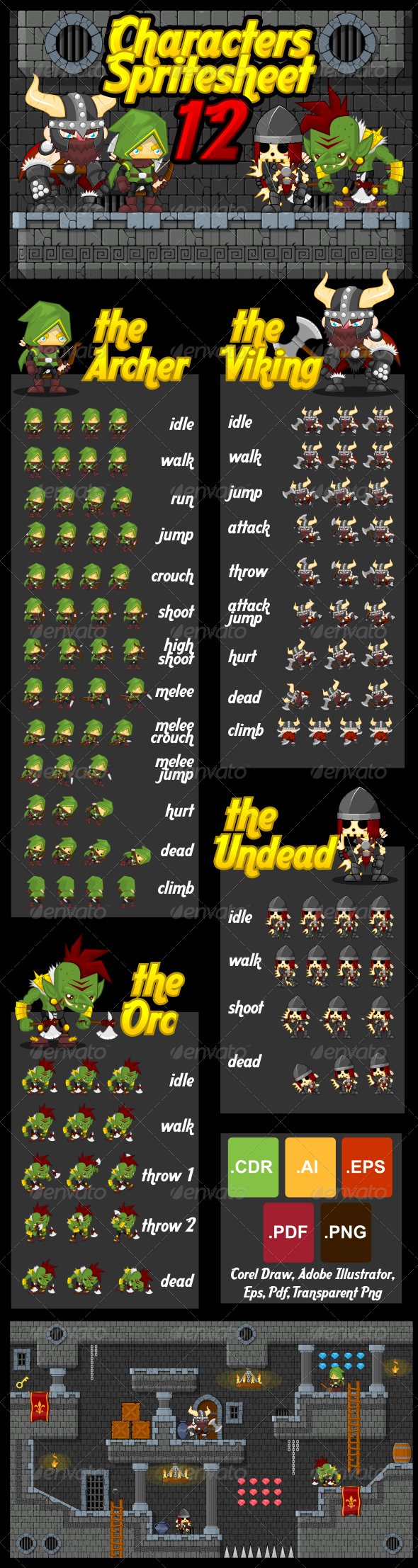 Characters Spritesheet 12 - Sprites Game Assets