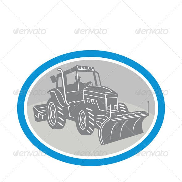 Snow Plow Truck Oval Retro